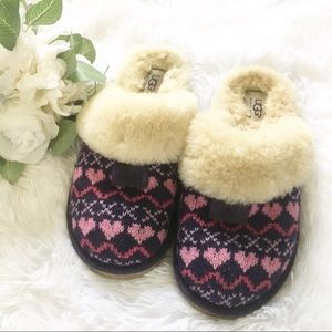 UGG pink purple fair isle knit slipper 8